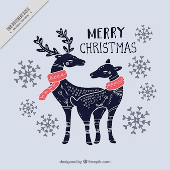 Background of hand drawn beautiful christmas reindeer