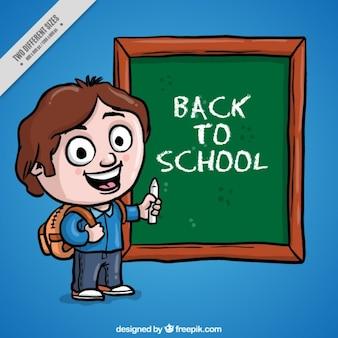 Background of hand drawn boy writing on a blackboard
