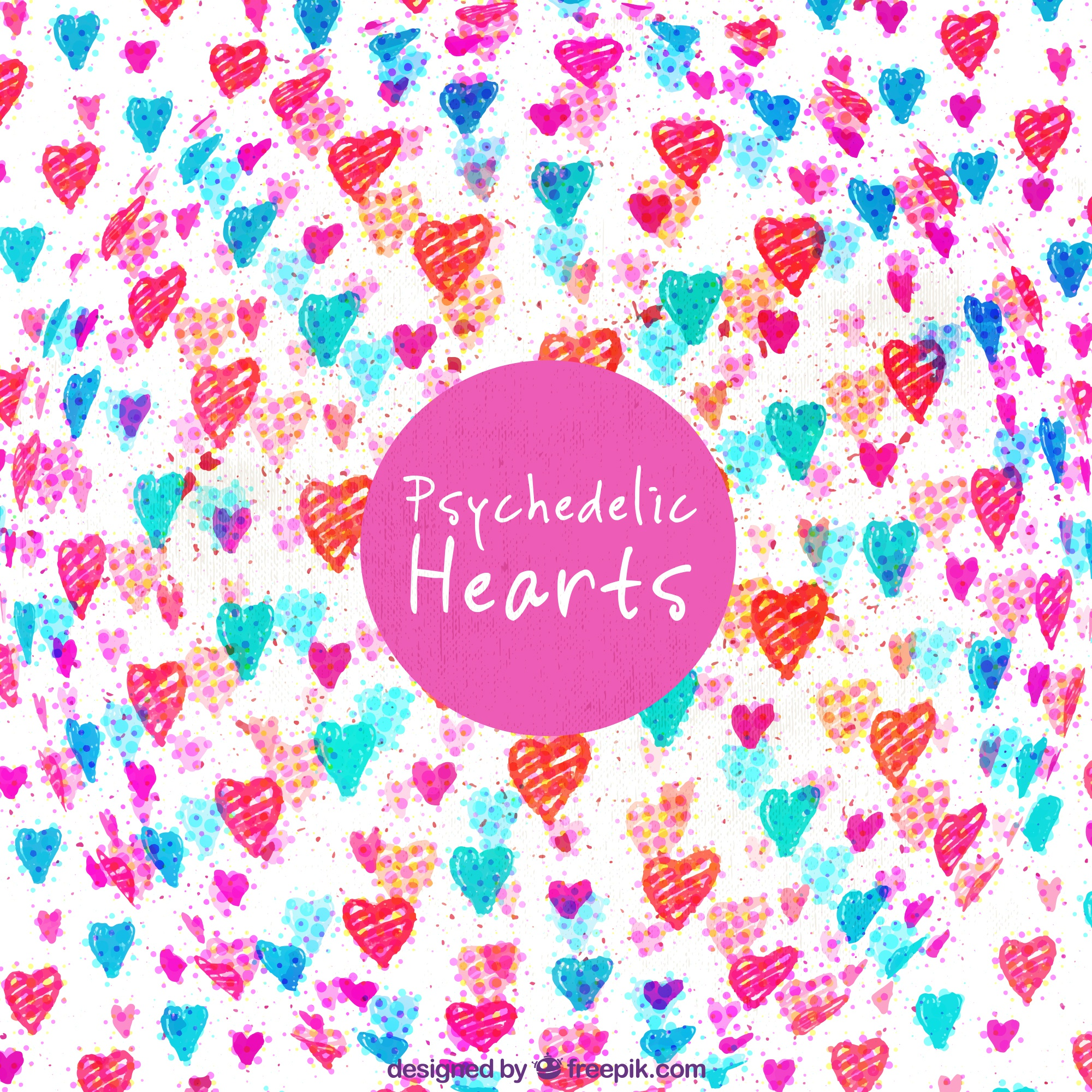 Background of hand drawn colored hearts