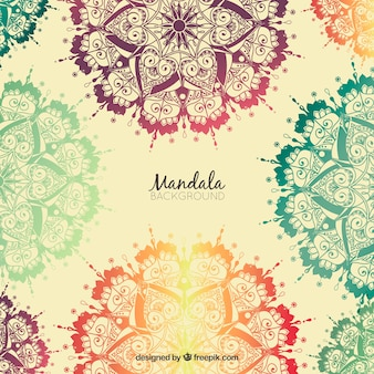 Background of hand drawn colored mandalas