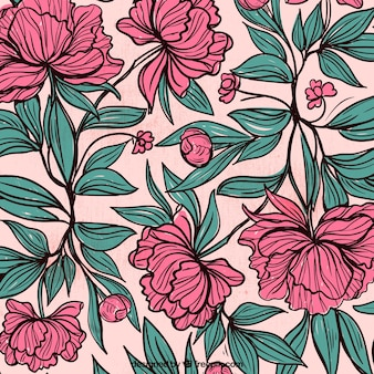 Background of hand drawn flowers and leaves