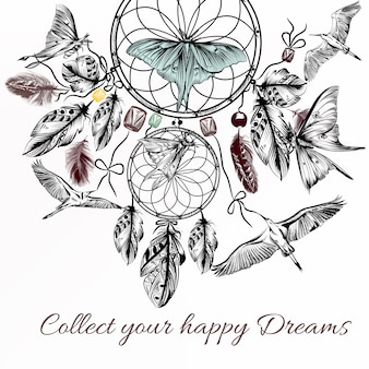 Background of hand-drawn nautical dream with birds and butterflies