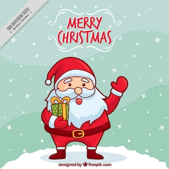 Background of hand drawn nice santa claus greeting