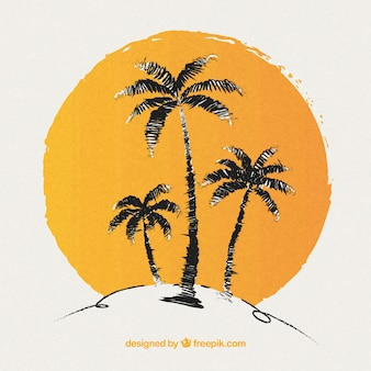 手描きのヤシの木と太陽の背景