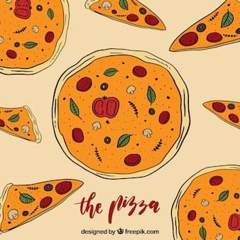 Background of hand-drawn pizzas