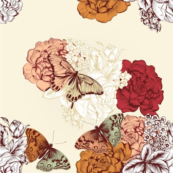 Background of hand drawn pretty flowers with butterflies