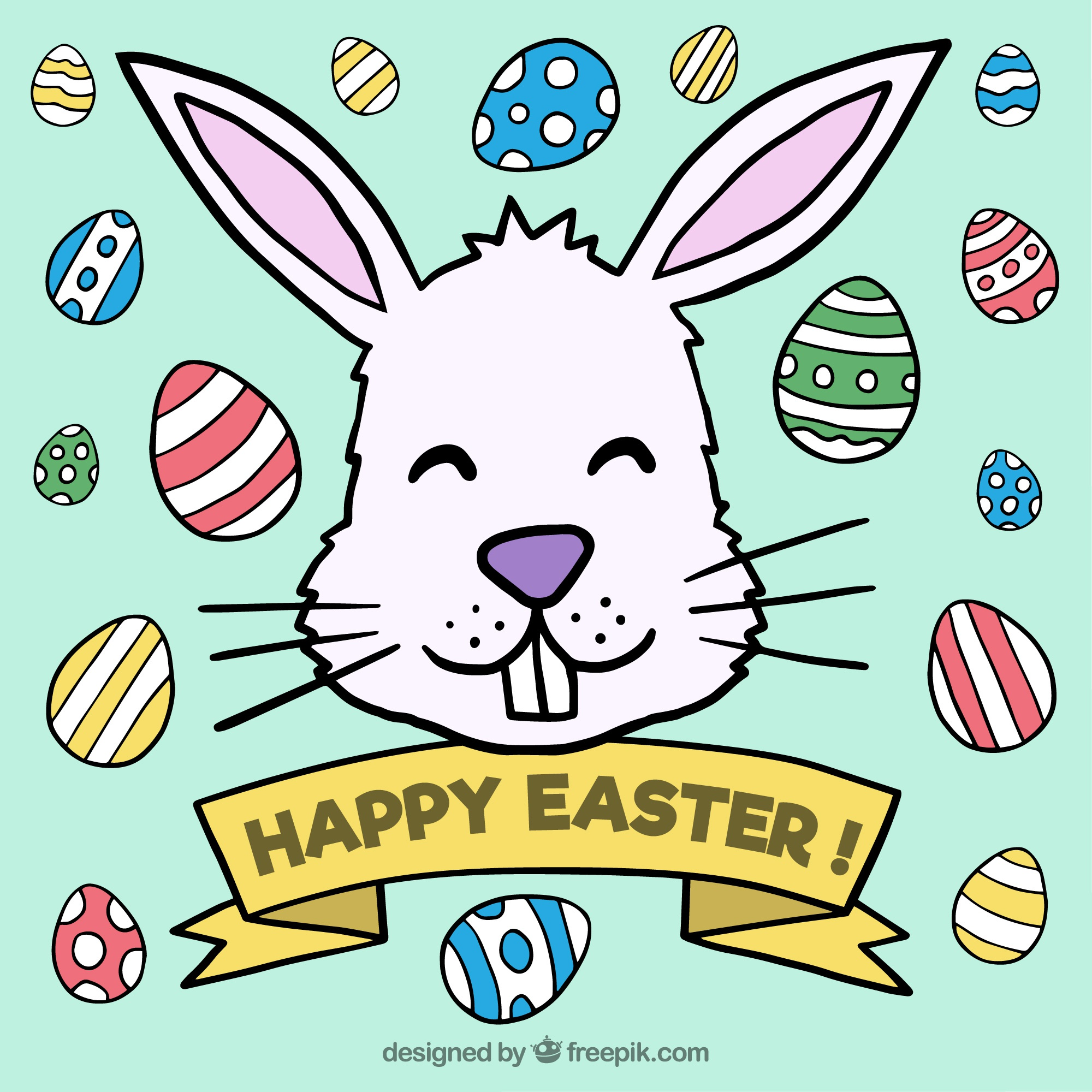 Background of hand drawn rabbit with easter eggs