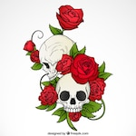 Background of hand drawn skulls with roses and leaves