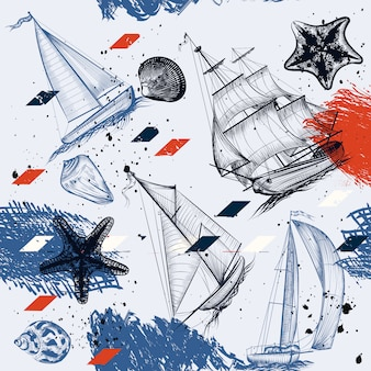 Background of hand painted boat sketches