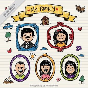 Background of hand painted family photo frames