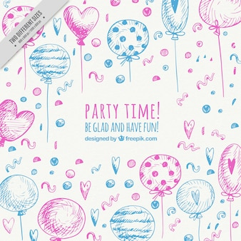 Background of hand painted party balloons
