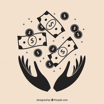 Background of hands with banknotes and coins