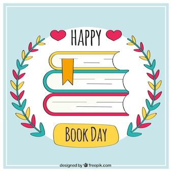 Background of happy book day with floral detail
