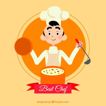 Background of happy chef cooking
