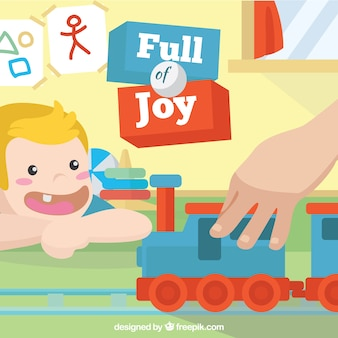 Background of happy child looking at a toy train