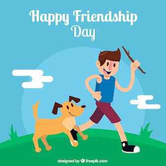 Background of happy day of friendship with boy and dog