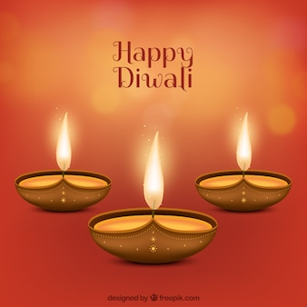 Background of happy diwali candles