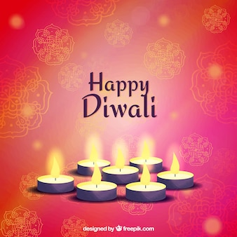 Background of happy diwali with candles