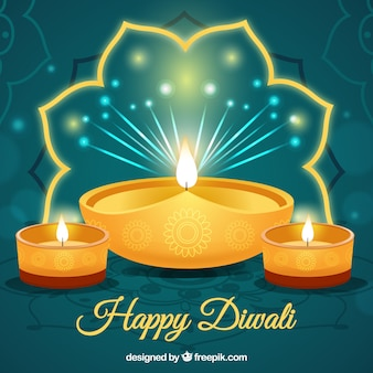 Background of happy diwali with golden candles