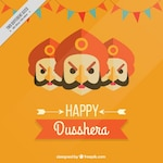 Background of happy dussehra with heads of ravana