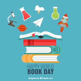 Background of happy world book day with decorative items