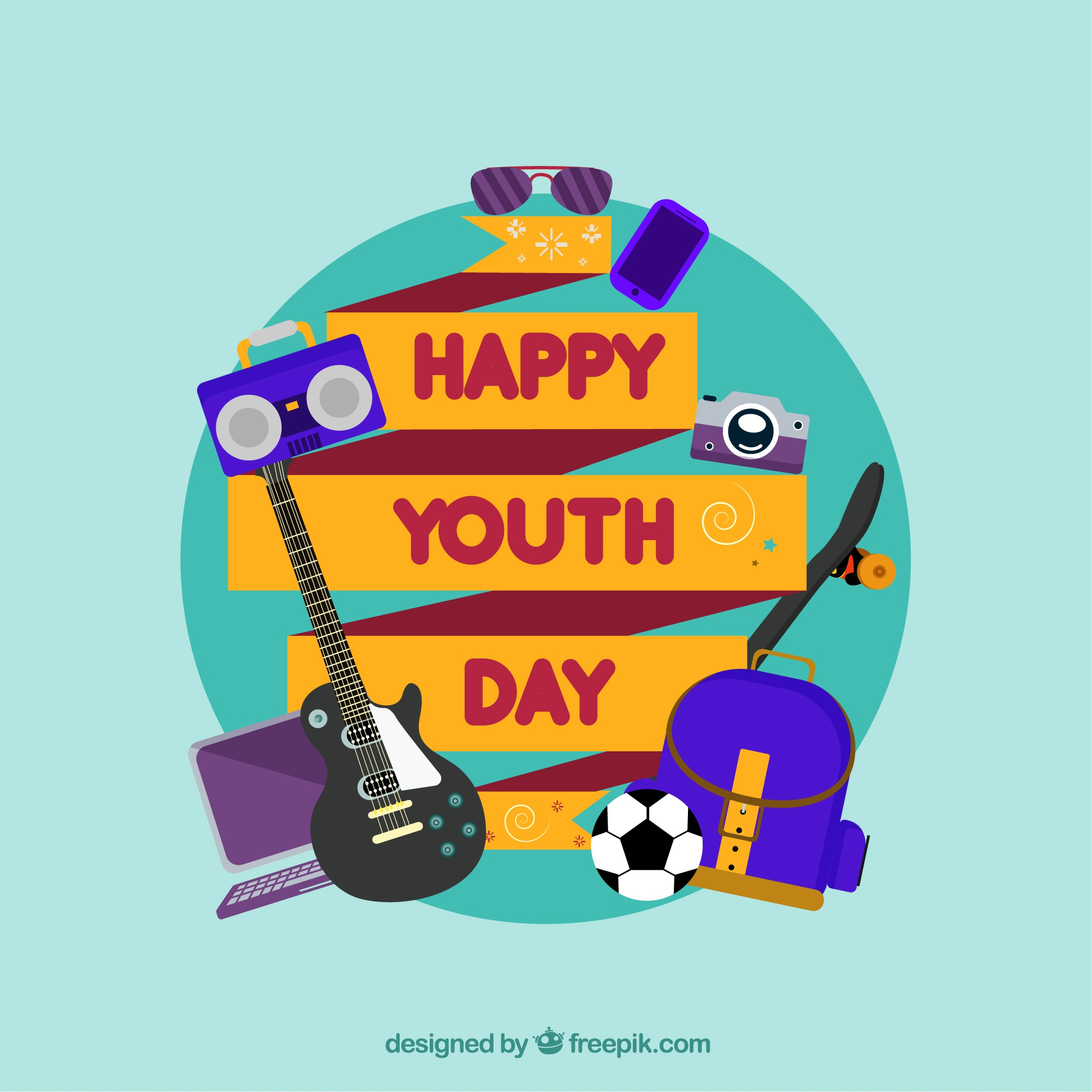 Background of happy youth day ribbon with elements in flat design