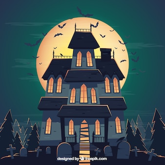 Background of haunted house for halloween