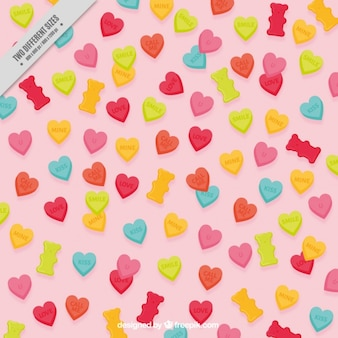 Background of hearts and bear gums