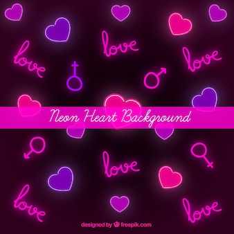 Background of hearts and neon symbols