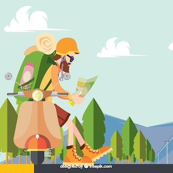 Background of hiker in the field in flat design