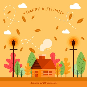 Background of house in a beautiful autumnal landscape