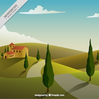 Background of house in the countryside with a path and trees