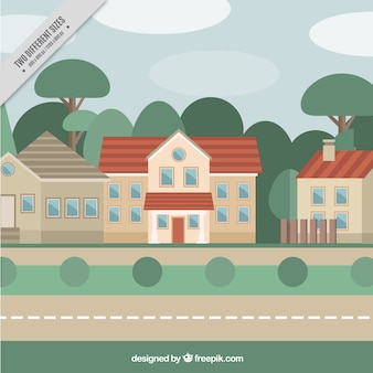 Background of houses and trees in flat design