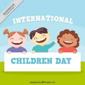 Background of international children's day with smiling kids