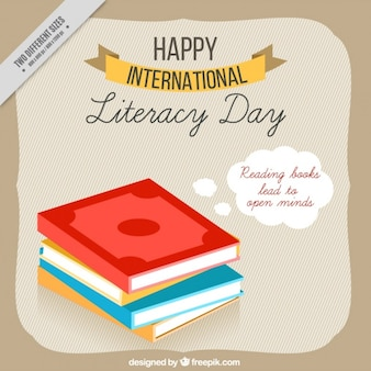 Background of international literacy day with books in flat design