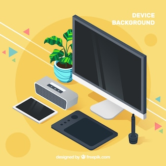 Background of isometric electronic devices