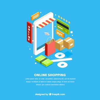 Background of isometric elements of e-commerce