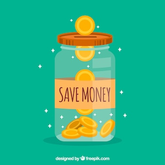 Background of jar with coins in flat design