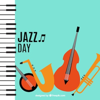 Background of jazz musical instruments with piano