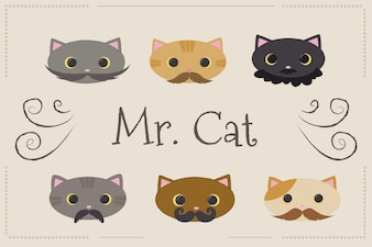 Background of kittens with mustache