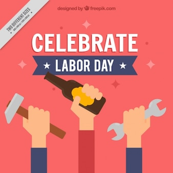 Background of labor day celebration in flat design