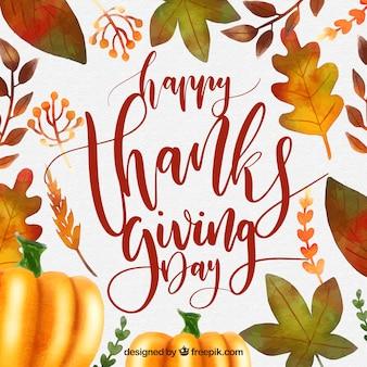 感謝の葉とカボチャの背景
