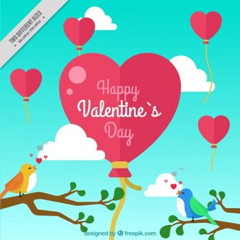 Background of love birds and heart balloon