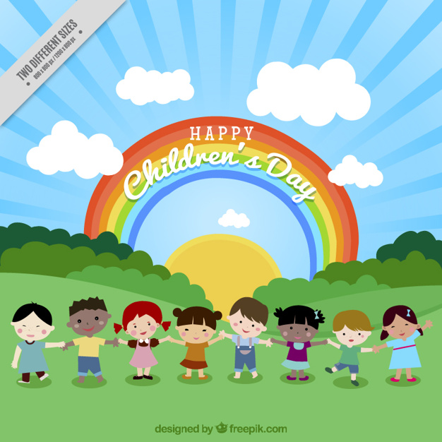 Background of lovely children in nature with rainbow