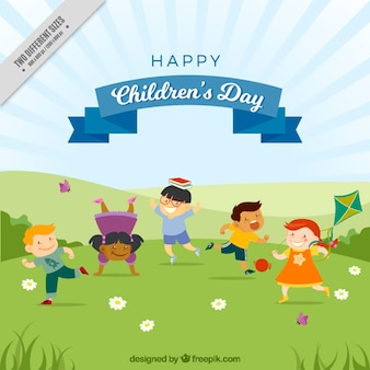 background of lovely children playing in the park - Free Children Images