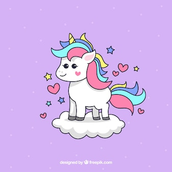 Background of lovely hand drawn unicorn on a cloud