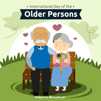 Background of lovely older couple on a bench