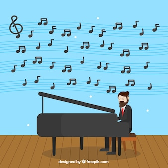 Background of man playing the piano and musical notes