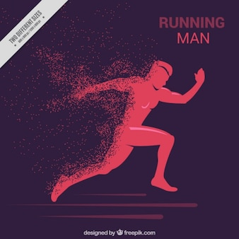 Background of man running silhouette