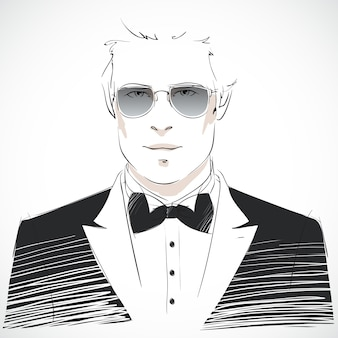 Background of man with dark suit and glasses